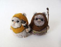 Needle felted Ewok by HandmadeByNovember on Etsy- this would make a cute ornament
