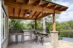 outdoor fireplace and summer kitchen - Google Search
