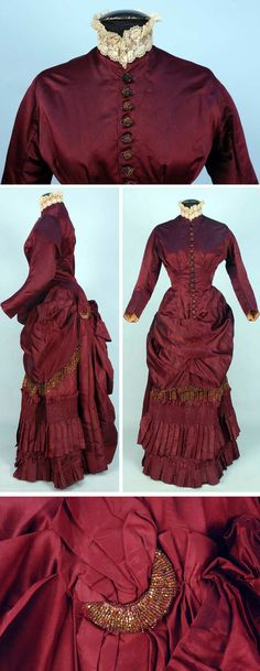 Silk bustle dress with beaded trim, ca. 1880. Two-piece claret satin and taffeta with iridill fringe, buttons and crescent ornament, boned polonaise bodice ruched into back bow, lace collar, underskirt decorated with bands of ruching and pleats, brown cotton lining. Whitaker Auctions