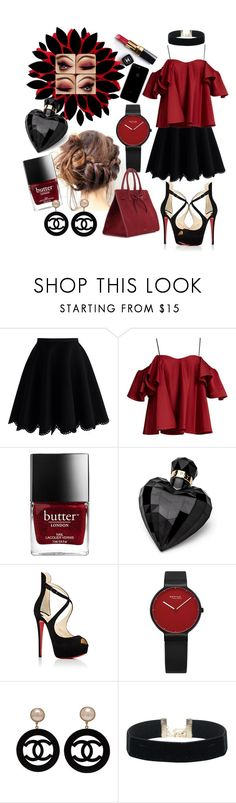 """Black and Red - the sexy combination"" by kathi9905 ❤ liked on Polyvore featuring Chanel, Chicwish, Anna October, Lipsy, Christian Louboutin and Mansur Gavriel"
