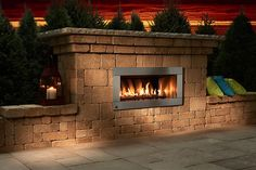 Contemporary Stone Outdoor Fireplace Kit