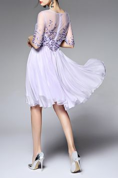 Voile Spliced Round Neck Floral Embroidery Dress