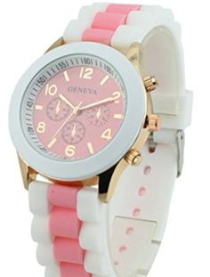 Women's Geneva Silicone Band Jelly Gel Quartz Wrist Watch Pink brand new and high quality Band Material: Silicone quartz movement watch Field Watches, Women's Watches, Wrist Watches, Color Quartz, Pink Watch, Casual Watches, Sport Fashion, Purple And Black, Watch Bands