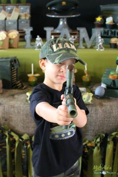 Army Party Ideas by Michelle's Party Plan-It - DIY party ideas, party favors, stationery, games, activities and more! Army Themed Birthday, Army Birthday Parties, 7th Birthday Party Ideas, Army's Birthday, Camo Party, Diy Party, Party Fun, Army Party Decorations, Party Themes