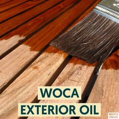 WOCA Exterior Oil is a water and plant based penetrating oil that absorbs deep into the wood strengthening the wood from the inside out.  It hardens from inside of the wood to strengthen and protect from the harsh outdoor elements and includes UV protection.  The best stain for color and protection in one step. Diamond Oil, Rough Wood, Exposed Wood, Wood Surface, Exterior Doors, Treehouse, Wood Species, Yard Ideas, Plaster