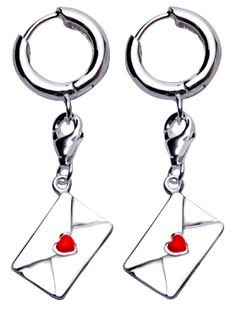 Sterling Silver Earrings: Love Letter Envelope with Red Enamel