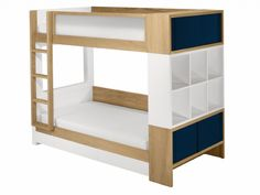 Neat storage options for end of bunk bed. Would also work for a single loft bed.