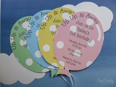 Balloon Birthday Party Custom Invitations Up by TeaPartyDesigns