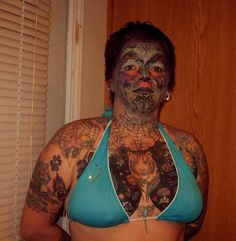 Bad Tattoos Face Chest, looks like a shotgun filled with feces blast to the upper body. The tatooist can't be proud or still high on meth Stupid People, Crazy People, Strange People, Strange Things, Body Painting, Tattoos Gone Wrong, Creepy, Scary, Stupid Human