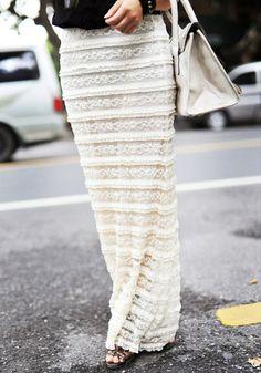 Overlay Maxi Skirt - Ivory @LookBookStore