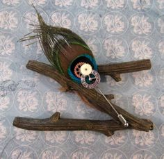 Peacock Feather and Clock Face Lapel Pin by AngelPetals on Etsy