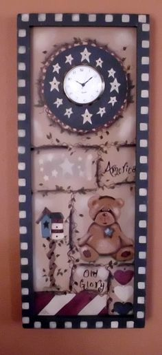Americana Wall Hanging Clock with BIRDHOUSE by KellysCountryStore, $22.50
