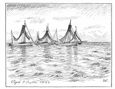 Drivkvaser ved Vejrø. Tegning af Johannes Larsen i Achton Friis, De Danskes Øer, bd. II, 7. september 1922. Danish well smacks for driftnet fishing.