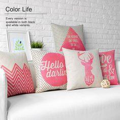 Cushion Pillow case Love words Throw decorative cushion covers Pink Deer Cotton Linen 45cm*45cm