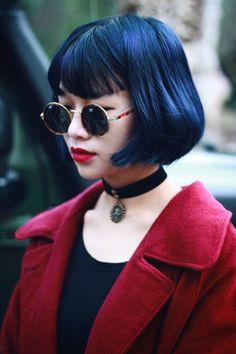 Red Black Round Sunglasses Choker Asian Street Fashion