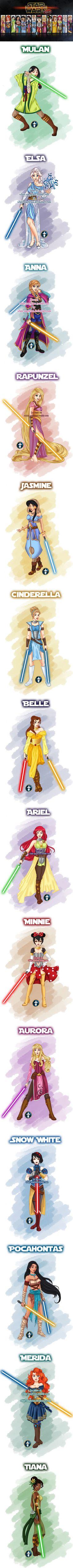 What if Disney Princesses were Star Wars Jedis (by White-Magician) #disneyprincess #disneyprincesspics #disney