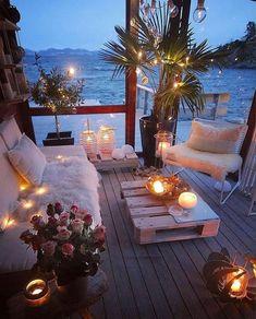 Romantic Room Decoration, Balcony Decoration, Balcony Ideas, Patio Ideas, Design Jobs, Design Ideas, Cosy House, Bright Homes, Cozy Place