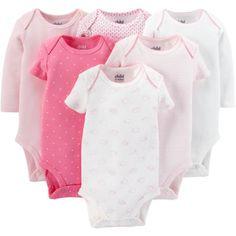 Child Of Mine by Carter's Newborn Baby Girl Bodysuits, 6 Pack - Walmart.com