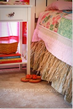 Grass skirting made into a bedskirt for my daughter's beach themed room.