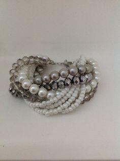 Bridal Bold Chunky White Silvergrey multi by HMbySemraAscioglu