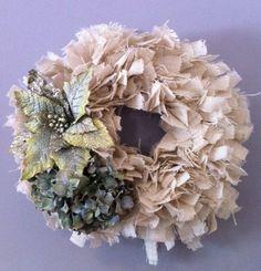 Shabby Chic Burlap Rag Wreath, Rag Wreath, Country Wreath, Wreath. via Etsy.