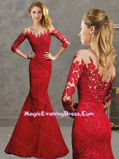 Classy Laced Mermaid Red Evening Dress with Off the Shoulder