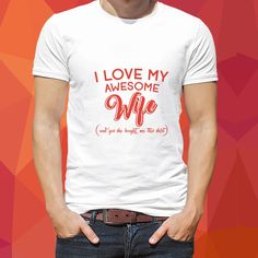 """Semi polyester white t shirt with cute text """"I love my awesome wife"""" on husband t shirt. One can surprise his wife with this amazing proposal. Or wife can gift this cute t shirt to her husband. Perfect Gift For Him, Perfect Couple, Love My Husband, My Love, Versace Chain, White Couple, Stylish Couple, Cute Texts, Couple Tshirts"""