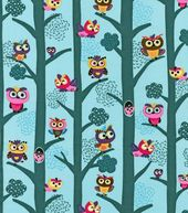 Novelty Cotton Fabric- Owls In Trees