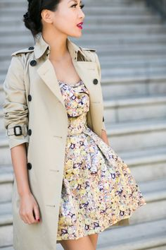 burberry trench and a lovely dress. Don't button it up though, or you'll look pantsless.