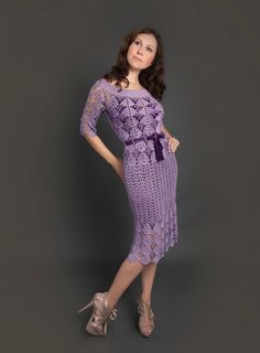 Purple exclusive crochet dress Filomena hand от LecrochetArt