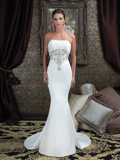 Trumpet/Mermaid Strapless Applique Zipper Satin Sweep Train Wedding Dress at Millybridal.com