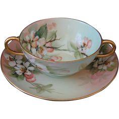 Antique Limoges Bouillon Cup and Saucer, Hand Painted Porcelain with pink dogwood blossoms, gold trim -Signed E Miler for Ester Horlbeck Miler - Late 19th/Early 20th century porcelain cup and saucer