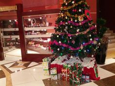 Beautiful Christmas tree in a Hotel in Doha City of Qatar Tour Around The World, Around The Worlds, Beautiful Christmas Trees, Doha, City, Holiday Decor, Cities
