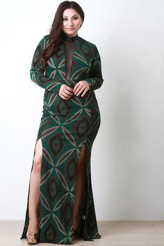 Plus Size Metallic Kaleidoscope M-Slit Maxi Dress Beautiful Girl Image, Beautiful Models, Beautiful Dresses, Beautiful Women, Glamour Ladies, Maxi Dress With Slit, Plus Size Maxi Dresses, Casual Elegance, How To Look Pretty