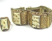 Chinese Vermeil Silver Ivory Bracelet w Ring 1930s Vintage Jewelry