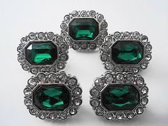 Rhinestone Buttons-5 Acrylic Rhinestone Buttons-EMERALD GREEN W/ Clear Rhinestones Surrounding Buttons-25mm-3136-6-2R.