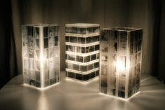 Very cool DIY use of old photo film strips to create unusual lamps.