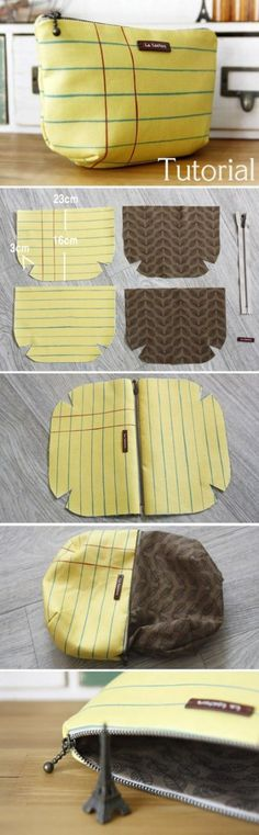 Cosmetic Pouch Bag Tutorial DIY A pouch for makeup and for me. (Lined Zippered Pouch / DIY Makeup Bag Pattern Sewing Hacks, Sewing Tutorials, Sewing Crafts, Sewing Projects, Sewing Patterns, Sewing Tips, Bag Tutorials, Bag Patterns, Diy Projects