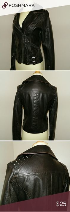 Miss sixty black faux leather coat In good used condition and very cute Size small miss sixty coat Feel free to ask questions! Miss Sixty Jackets & Coats