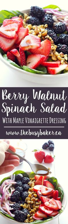 This Berry Walnut Spinach Salad with Maple Vinaigrette is perfect for your Memorial Day barbecue! www.thebusybaker.ca