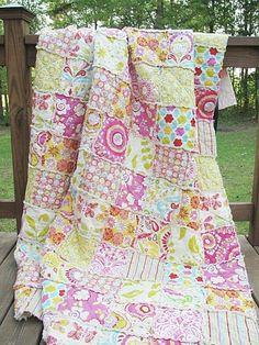 Twin Size Rag Quilt, Kumari Garden-quilts rag twin size quilt patchwork bedding home decor country home southern charm all natural girl pink butterfly paisley kumari garden handmade
