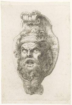 Christian Bernhard Rode | Mascaron met bebaarde mannenkop, Christian Bernhard Rode, 1735 - 1797 | Mascaron met bebaarde mannenkop iets naar links. De mond van de man in open en hij draagt een hoofdband.