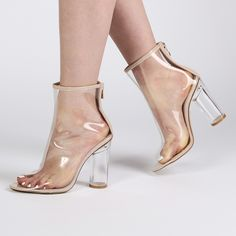 Star Perspex Heel Ankle Boots in Nude