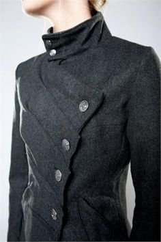Interesting coat closure and layers. Muse Coat Gray by Suzabelle/ Winter 2011 Collection. http://fab.com/product/muse-coat-gray-238567 #Black #Layers #Detail