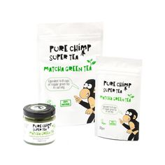 PureChimp Super Tea (Matcha Green Tea) products on a white background. Image of pouches and 50g glass jar.