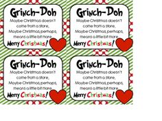 Gift tag printable for Christmas based on the Grinch story.  Great gift at the end of our FABLES unit.