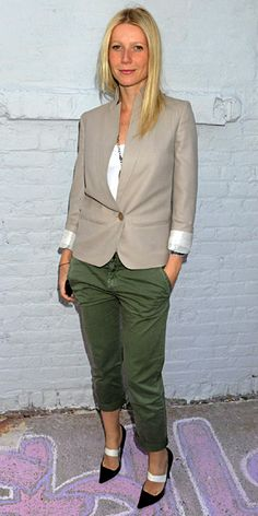 A little green with envy: Gwyneth Paltrow's Stella McCartney blazer and Current/Elliott pants.