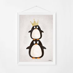 Poster print wall art. Illustration art with cute penguins. Kids and nursery wall art for instant download. Available in 3 sizes. by PenguinGraphics on Etsy