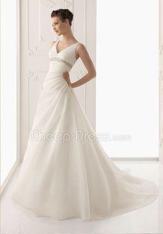 Straps Natural Waist A line Organza Wedding Dress With Beading