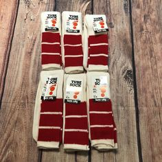 "Twin City Long Tube Socks New Dead Stock Red & Off White Stripes 6 Pair VTG ""70s #TwinCity"